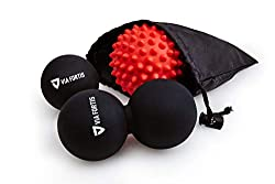 VIA FORTIS® Premium Massage Ball Set incl. Fascia ball, duo ball, hedgehog ball & bag - for self-massage and treatment of trigger points for tension