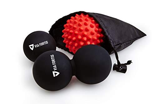 VIA FORTIS® Premium Massageball Set inkl. Faszienball, Duoball, Igelball & Tasche - Zur Selbstmassage und Behandlung von Triggerpunkten bei Verspannungen