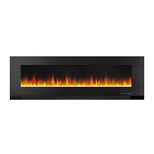 Amazon Basics Wall-Mounted Recessed Electric Fireplace - 60-Inch, Black