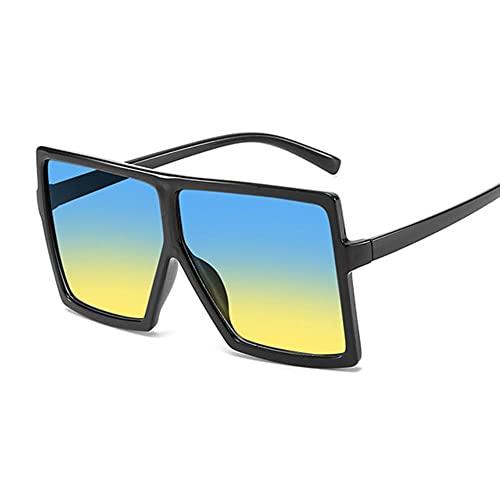 UKKD Gafas De Sol Mujeres Sombras De Gran Tamaño Gafas De Sol Mujer Pink Fashion Glasses Square Big Frame Gafas De Sol Mujer Vintage Retro Unisex-Black Blue Yellow