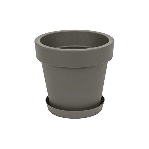 Pot de fleur avec soucoupe Lofly, 20 cm diam, en gris