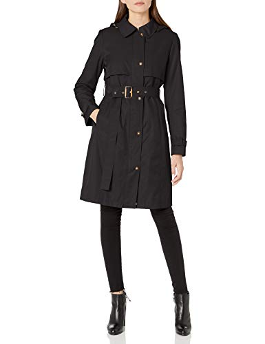 Calvin Klein Damen Women's Hooded Trenchcoat, schwarz, X-Small