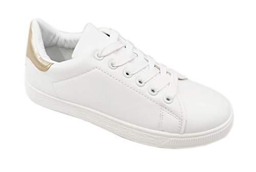 Zapatillas Blancas Mujer Sneakers Blanco Dorado T.36