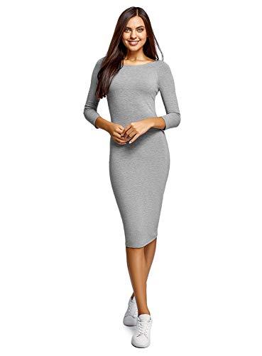 oodji Ultra Mujer Vestido Ajustado con Escote Barco, Gris, ES 40 / M