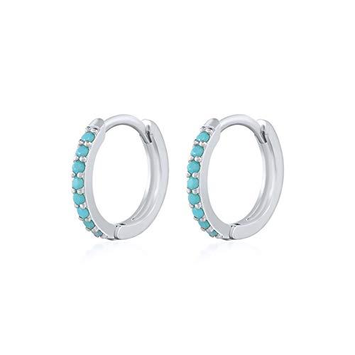 LLTT Silver Earrings Women Men Small Hoop Earrings Ear Bone Tiny Ear Nose Ring Girl Aretes Ear Hoops (Gem Color : B silver, Metal Color : 9mm)