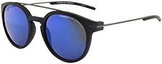 Porsche Design 保时捷 时尚圆形休闲太阳眼镜遮阳墨镜P8644 A黑框蓝色镜面