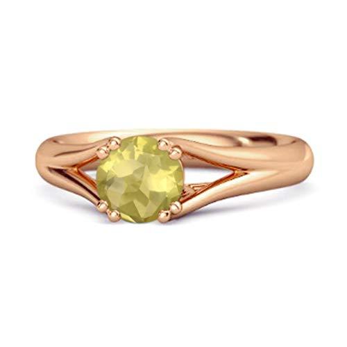 Shine Jewel Multi Elija su Piedra Preciosa Solitario 0.25 Ctw Redondo Anillo De Plata De Ley 925 Chapado En Oro Rosa (14, limón-Cuarzo)
