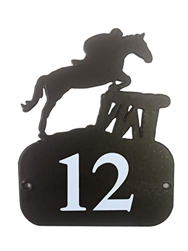 De profielen Range Horse & Rider Cross Land Jumping House Teken Traditionele Zwart Metaal/Deur Nummer Plaque Adres Plaat