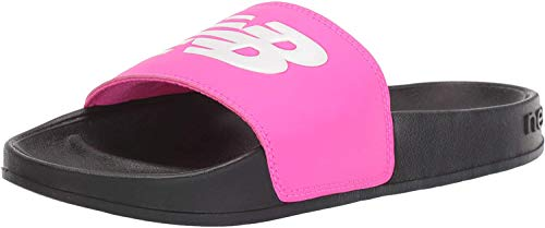 New Balance Women's 200 V1 Slide Sandal, Black/Pink, 9 M US