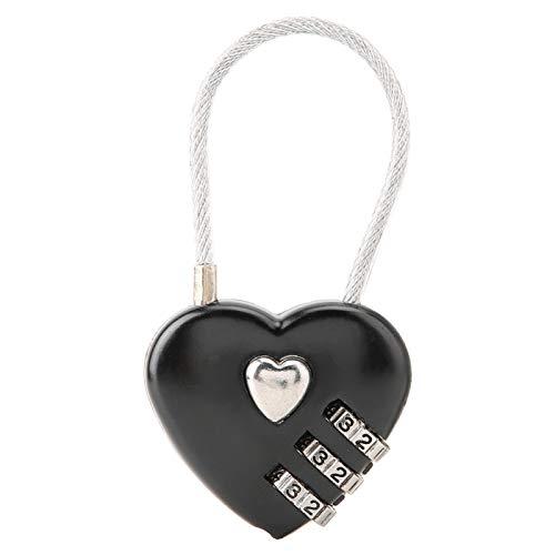 DAUERHAFT - Candado de seguridad, duradero, en miniatura, bolsa de equipaje, cerradura con código para mochila, joyero, vestuario de Hall, caja de herramientas, cuarto de gimnasio, vestuario (negro)