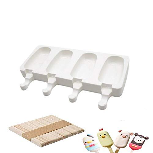 Chang - Molde de silicona para helados, molde para helados, molde para palitos de hielo, bandeja de postre congelado, bandeja para utensilios de cocina para el hogar + 50 palillos de madera (pequeños)