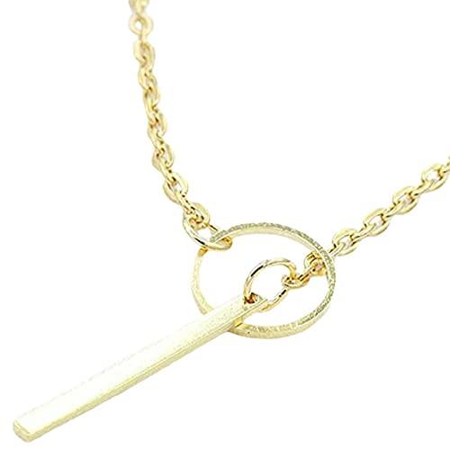 HHuin Collar corto de anillo de metal europeo y americano, hipoalergénico, acabado cuidadoso.