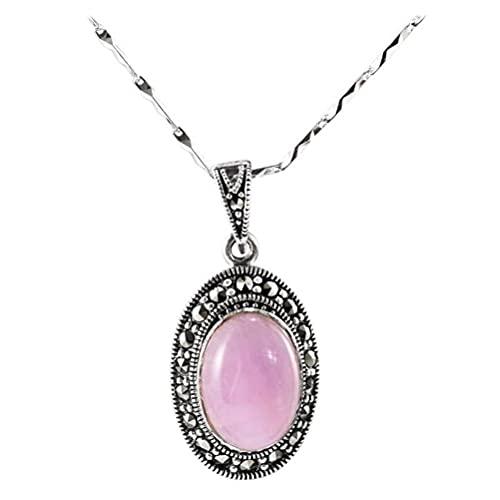 WOZUIMEI Colgante de Estilo Chino S925 Plata de Ley Coreana Simple Colgante de Cristal Rosa Colgante de Clavícula Femenina Joyería de Platacolgante sin cadena