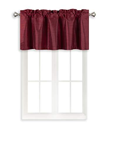 Home Queen Rod Pocket Room Darkening Curtain Valance Window Treatment for Kitchen Room, Short Straight Drape Valance, Set of 1, 94 cm x 46 cm (37 X 18 Inch), Burgundy
