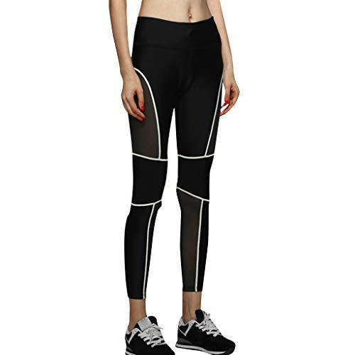 MOTOCO Damenstrumpfhose Stretchhose Enge Mesh-Gaze-Yogahose Größe 34-40(M(36),Grün)