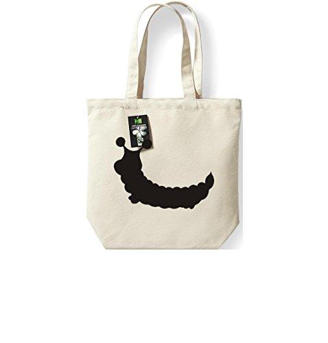 Krokodil Fairtrade Stoffbeutel Raupe Puppe Baumwolltasche, Beutel, Shopper Umhängetasche , Farbe natur