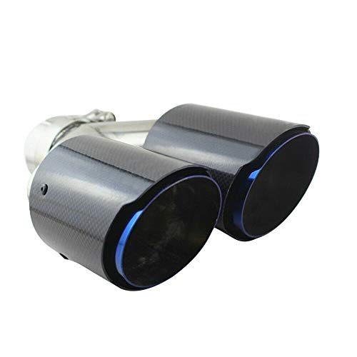 Carbon Fiber Dual-Outlet Muffler Pipes Dual Exhaust Tips Tailpipe for Universal Car, Inlet 63mm(2.5inches) Outlet 89mm(3.5inches)