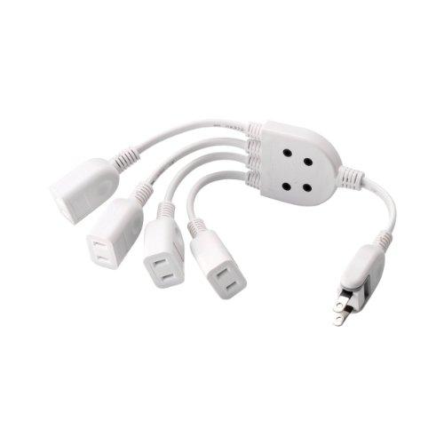 ACアダプタを4個繋げる電源延長コード 0.2m 4個口 ホワイト T-ADR4WH 1個