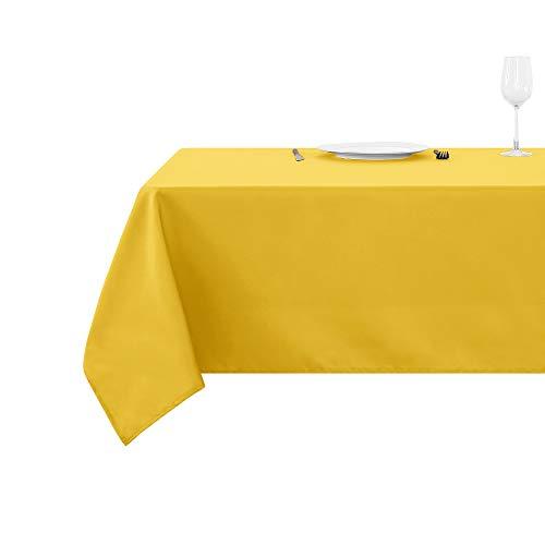 Deconovo Nappe Exterieur Decoration Waterproof pour Table Carré 150x150cm Jaune