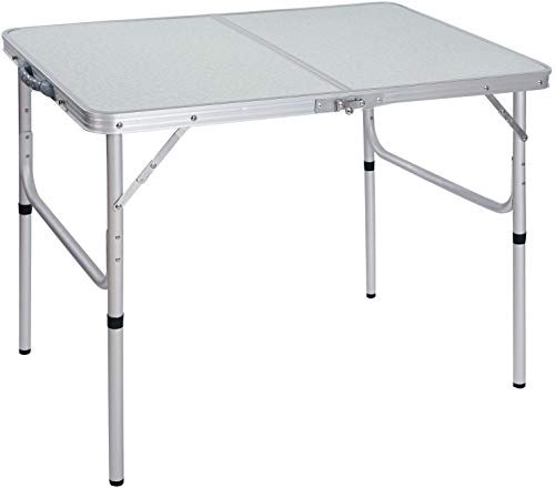 Cimiva Aluminum Folding Table 3 Foot, Adjustable Height Lightweight Portable Camping Table for Picnic Beach Outdoor Indoor, White 36 x 24 inch (3-Feet (2 Heights 15'/28'))