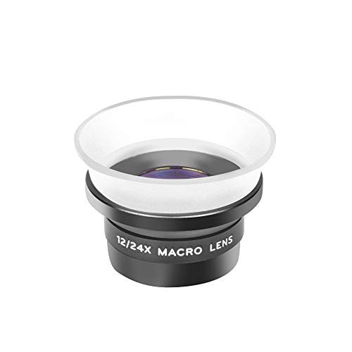 Adcom 12x/24x Macro Mobile Phone Camera Lens with Lens Hood - Compatible with All iPhone & Android Smartphones (Black)