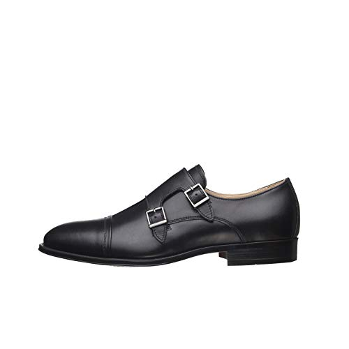 NeroGiardini - E001422U Ilcea - Zapatos elegantes para hombre, de piel, con cierre de doble hebilla Negro Size: 41 EU