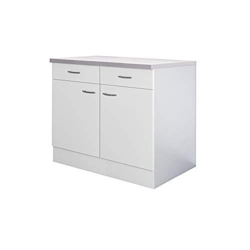 Flex-Well Küchenschrank UNNA - Unterschrank - 2-türig, 2 Schubladen - Breite 100 cm - Weiß