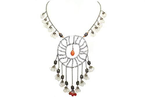 PH Collar 925 plata esterlina perlas amatista arco iris cornalina piedra P 379
