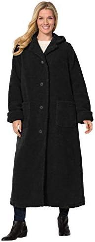 Woman Within Women s Plus Size Long Hooded Berber Fleece Coat 2X Black product image