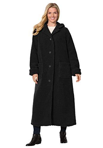 Woman Within Women's Plus Size Long Hooded Berber Fleece Coat - 3X, Black
