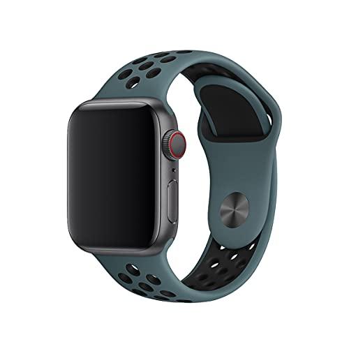 Shazikaihui Correa Compatible con Apple Watch 38mm 40mm 42mm 44mm, Suave Silicona Reemplazo Pulseras, Mujeres Hombres Pulsera de Silicona Transpirable para iWatch SE Series 6 5 4 3 2 1 (38mm/40mm,7)