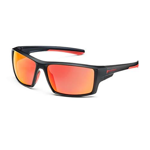 Audi 3111900100 - Gafas de sol deportivas (efecto espejo), color negro y rojo