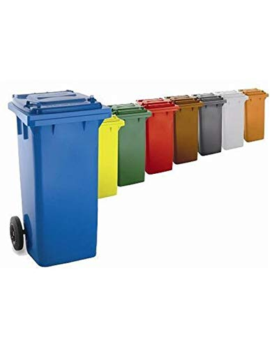 Jardin202 Color: Marron - Contenedor de Basura Reciclables de Colores con Ruedas 120L