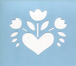 ファインホームのステンシルシート fh-271L ハート鉢の花B Lサイズ