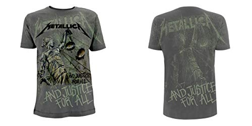 Metallica ... and Justice for All - Neon Backdrop Männer T-Shirt Charcoal M