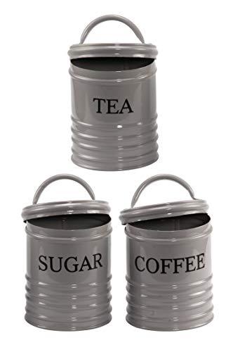 MAADES 3er Set Vintage Vorratsdosen London aus Metall 16cm Gross   Retro Behälter Dose zur Aufbewahrung von Kaffee Tee Zucker in der Küche