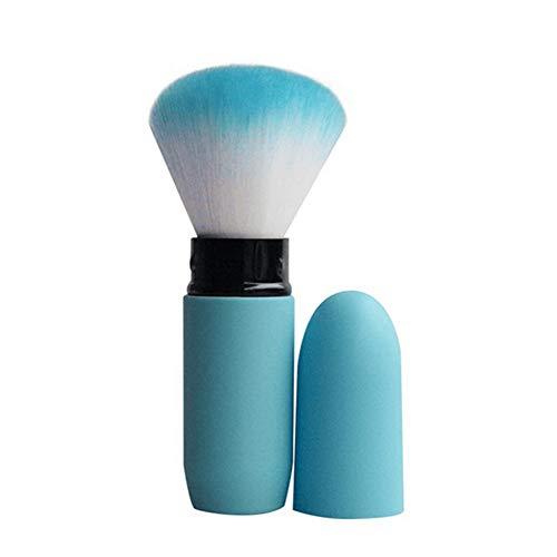 Pinceau maquillage Rougir Poudre éparse Mélange Outils beauté Multifonction Visage Contour Garniture Fondation Doux Mini Cylindrique Télescopique Tête champignon Poignée Base Voyage Portable,Blue