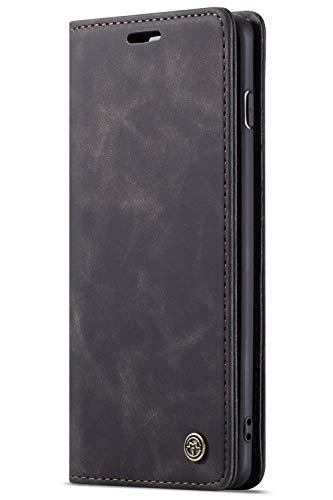 FLY HAWK Handyhülle, Premium Leder Flip Schutzhülle Schlanke Brieftasche Hülle Flip Case Handytasche Lederhülle mit Kartenfach Etui Tasche Cover für Samsung Galaxy S10, Schwarz