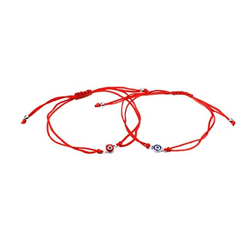 Berrywho 2 Pcs Pulsera del Ojo Malvado Afortunado Brazalete de la Trenza de Ojos cordón Ajustable Cuerda Pulsera Pulsera de la Amistad Conjunto de joyería Hombres Mujeres Azul Rojo