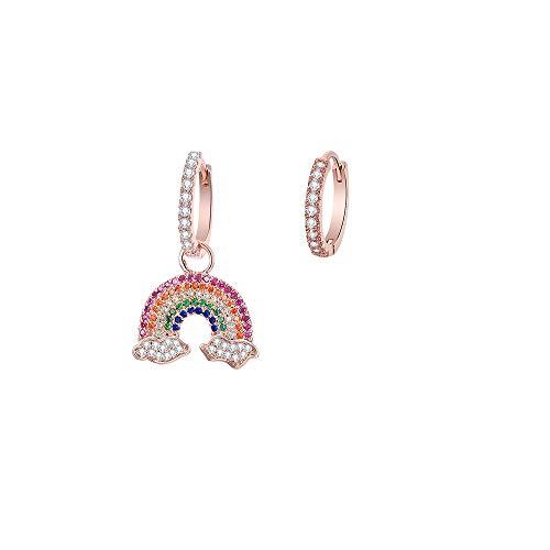 TGHYB PendientesMujer,Colgante De Arcoiris Asimétrico De Oro Rosa De Moda Vintage Pendientes De Aro Redondo Pendientes Finos Regalo De Día De La Madre Joyería para Hombres Mujeres Niñas