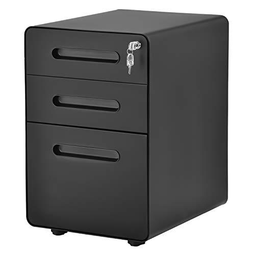 Flieks tragbare Stahl Rollcontainer, Rolling Kabinett mit abschließbaren Schubladen,Schrankkorpus Vormontiert, für Hause & Büro (Schwarz)