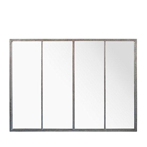 Miroir en métal 4 bandes 120x90cm FRANK Zinc