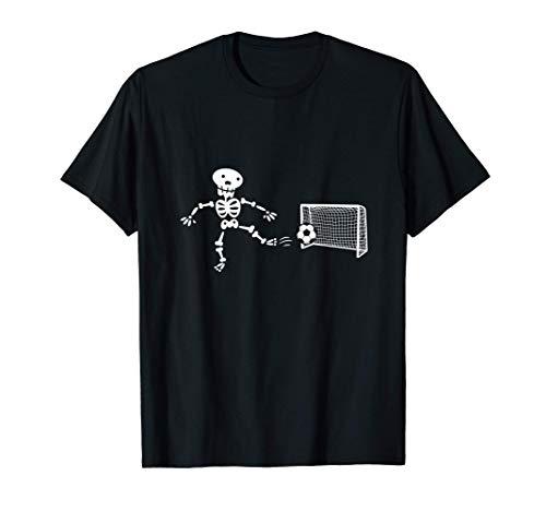 Disfraz de esqueleto de Halloween jugando al fútbol Camiseta