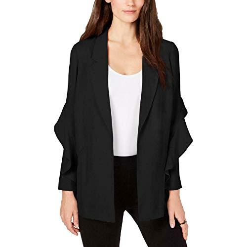 Alfani Womens Flounce Suit Separate Open-Front Blazer Black M