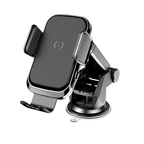 LJC Car Smart Coil Induction Wireless Charger 15W Fast Charge Car Navigation Bracket Wireless Charger Touch Induction Type Big Suction Cup Stable Bracket