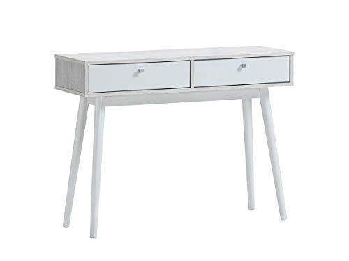 Recibidor Consola Roble Polar y Blanco 100 x 32 x 75 cm con Dos cajones Zeus