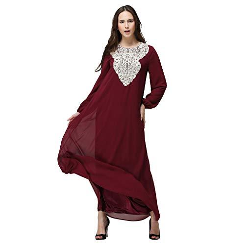 Lazzboy Kleid Arabisch Beiläufig Kleid Edel Muslime Lange Roben Abaya Maxi Rock Kleider - Mittlerer Osten Truthahn Abend Abschlussball Übergröße(Rot,XL)