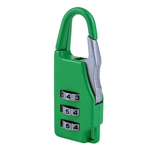 MXECO 1 Stück Neue Sicherheits 3 Kombination Reise-Zink-Legierung Koffer Gepäck-Beutel Schmuck -kästen Werkzeugschränke Code Lock Zipper Padlock (grün)