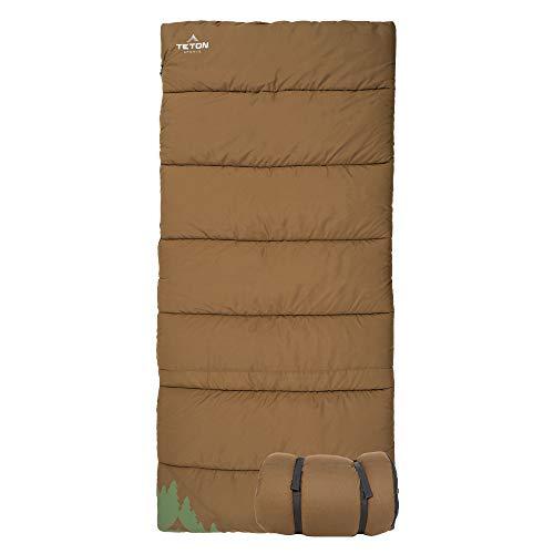 TETON Sports 1349 Evergreen Canvas Sleeping Bag; Warm and Comfortable Sleeping Bag for Camping or Hunting, Tan, +20F Single Bag