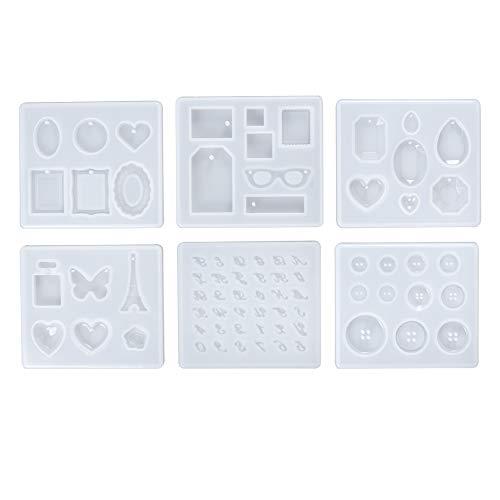 WANDIC UV レジン 型, 6個 ソフトモールド ジュエリーシリコンモールド 宝石型 ボタン 型 楕円型 ハート型 四角型 DIY 手芸用品
